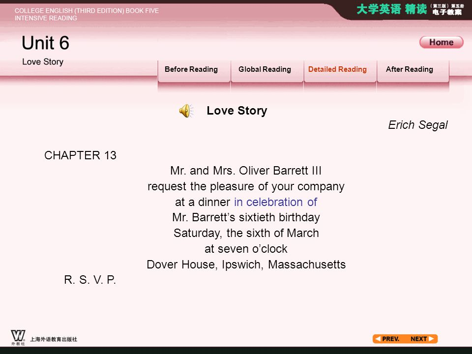 Article1 Before ReadingGlobal ReadingDetailed ReadingAfter Reading CHAPTER 13 Mr. and Mrs. Oliver Barrett III request the pleasure of your company at