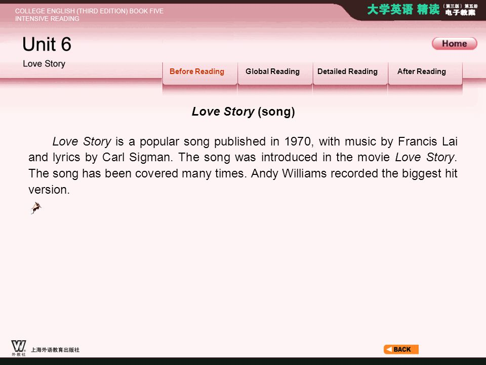 Before Reading_1.2 Before ReadingGlobal ReadingDetailed ReadingAfter Reading Love Story (song) Love Story is a popular song published in 1970, with music by Francis Lai and lyrics by Carl Sigman.