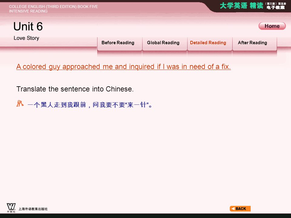 Article12_S_A colored guy … Before ReadingGlobal ReadingDetailed ReadingAfter Reading Translate the sentence into Chinese.
