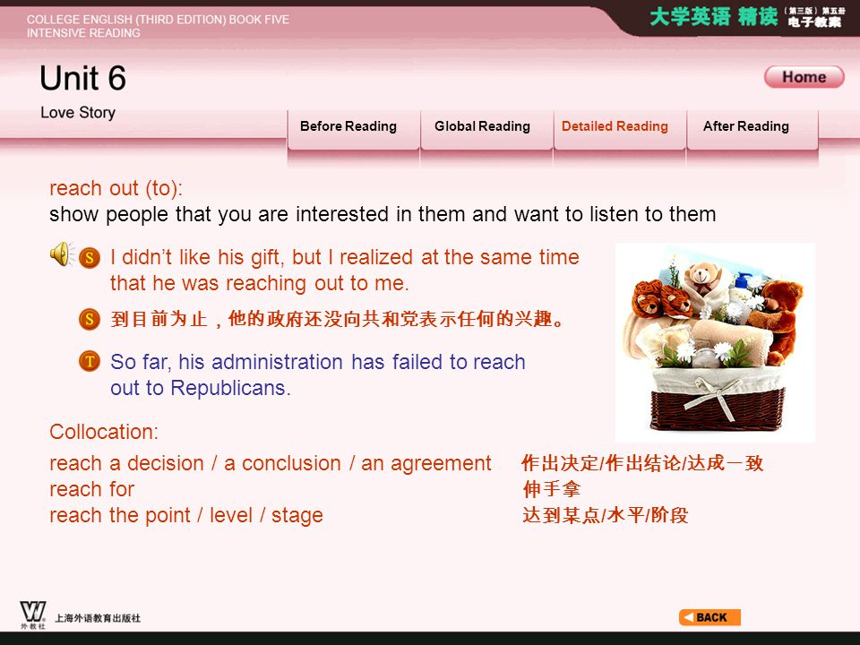 Article _W_ reach out Before ReadingGlobal ReadingDetailed ReadingAfter Reading reach out (to): show people that you are interested in them and want t