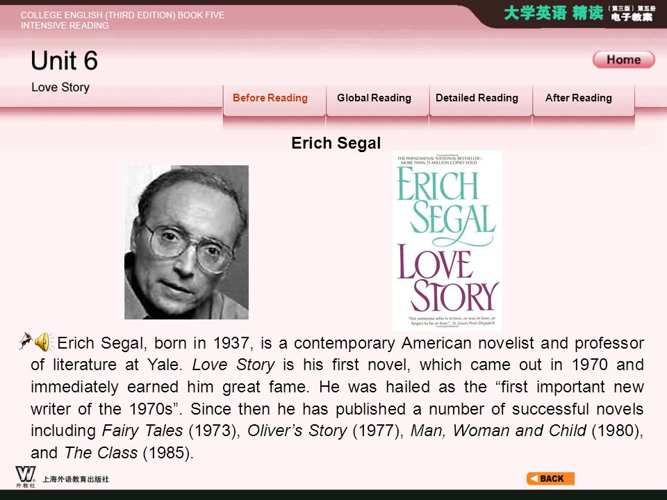 Before Reading_1.3 Erich Segal Before ReadingGlobal ReadingDetailed ReadingAfter Reading Erich Segal, born in 1937, is a contemporary American novelis