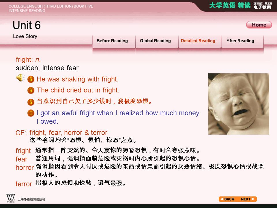 Article_ W_ fright1 Before ReadingGlobal ReadingDetailed ReadingAfter Reading fright: n.