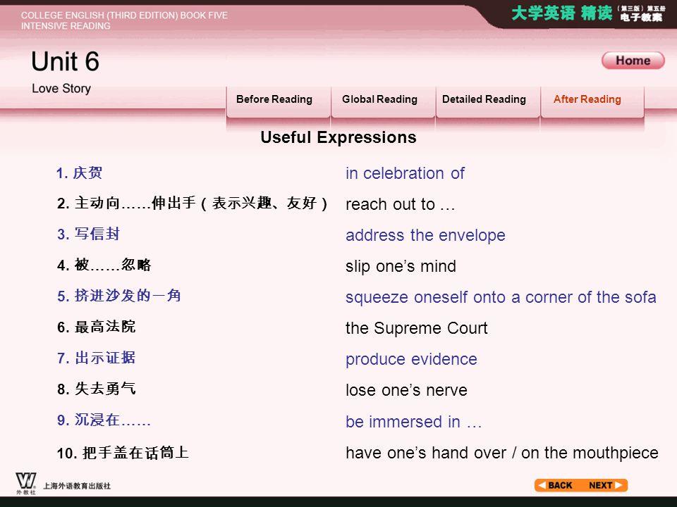 After Reading_1.1 1. 庆贺 2. 主动向 …… 伸出手(表示兴趣、友好) 3.