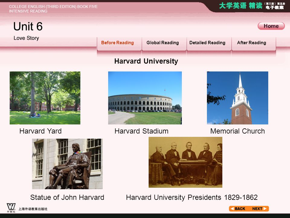 Before Reading_1.4_1 Before ReadingGlobal ReadingDetailed ReadingAfter Reading Harvard University Harvard YardHarvard Stadium Memorial Church Statue of John HarvardHarvard University Presidents 1829-1862