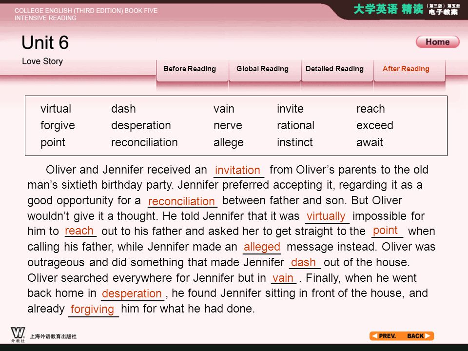 After Reading_5_2 Before ReadingGlobal ReadingDetailed ReadingAfter Reading virtual forgive point Oliver and Jennifer received an from Oliver's parent