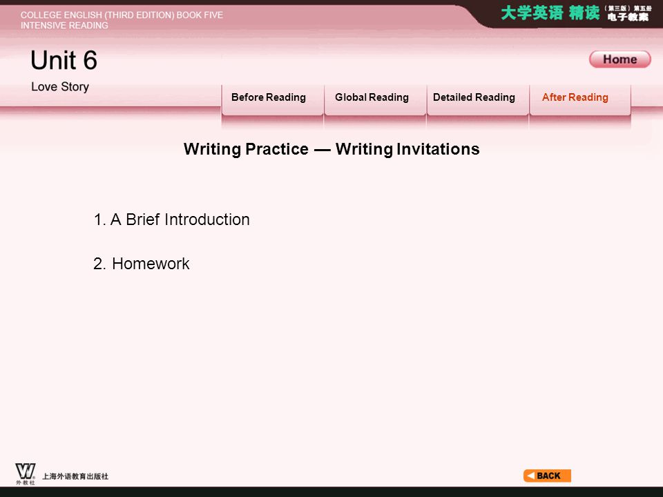 After Reading_6 Before ReadingGlobal ReadingDetailed ReadingAfter Reading Writing Practice — Writing Invitations 1.