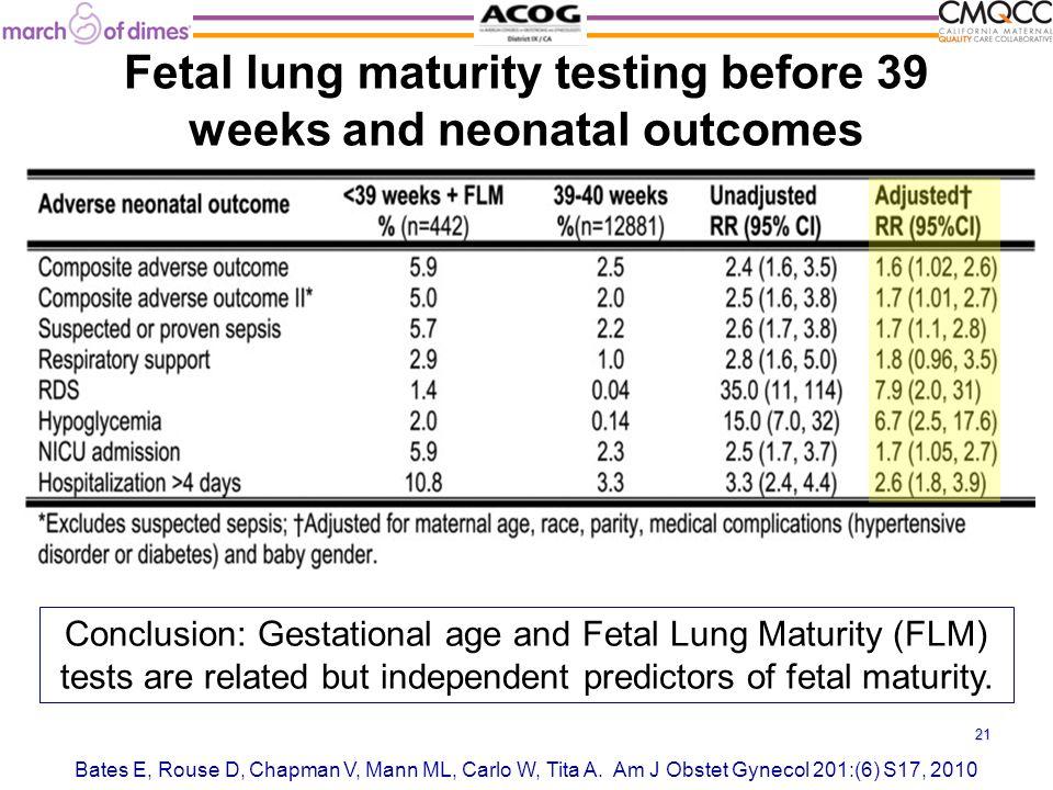 Fetal lung maturity testing before 39 weeks and neonatal outcomes Bates E, Rouse D, Chapman V, Mann ML, Carlo W, Tita A.