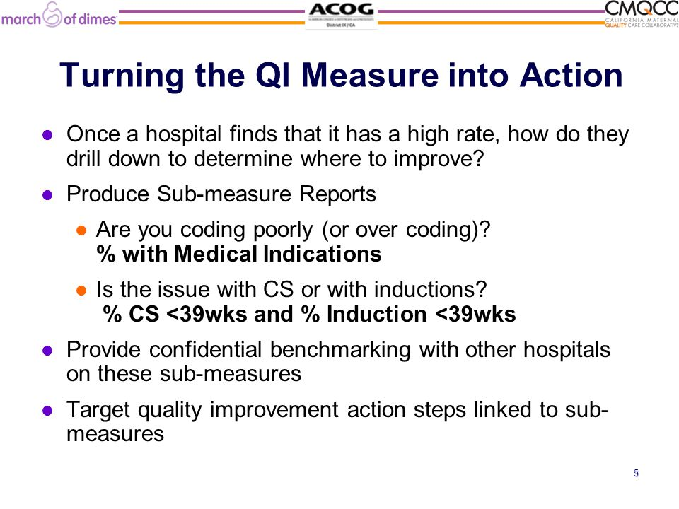 Turning the QI Measure into Action Once a hospital finds that it has a high rate, how do they drill down to determine where to improve.