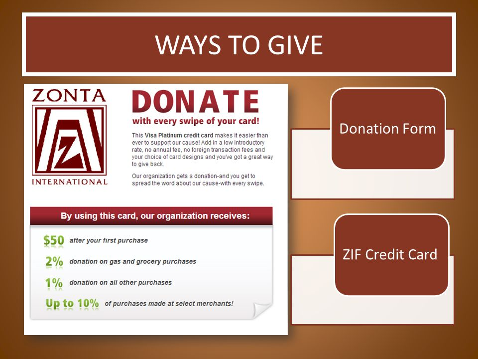 WAYS TO GIVE Donation FormZIF Credit Card