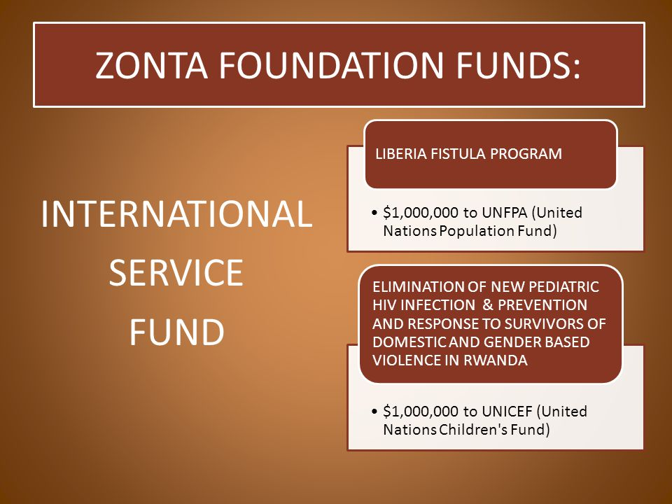 INTERNATIONAL SERVICE FUND $1,000,000 to UNFPA (United Nations Population Fund) LIBERIA FISTULA PROGRAM $1,000,000 to UNICEF (United Nations Children s Fund) ELIMINATION OF NEW PEDIATRIC HIV INFECTION & PREVENTION AND RESPONSE TO SURVIVORS OF DOMESTIC AND GENDER BASED VIOLENCE IN RWANDA ZONTA FOUNDATION FUNDS: