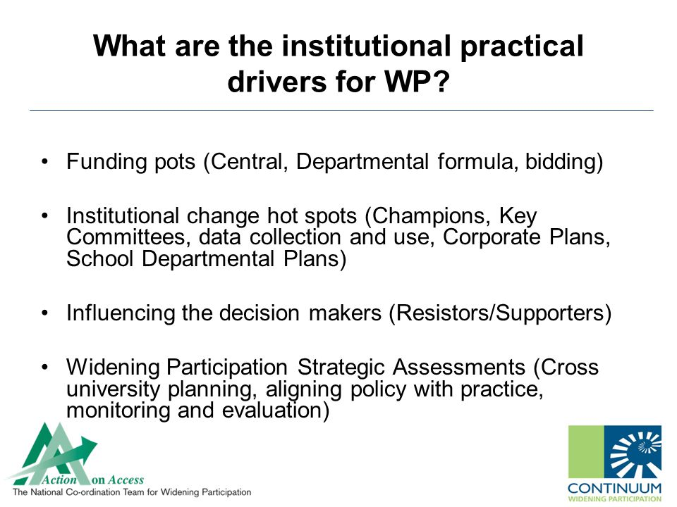 What are the institutional practical drivers for WP.