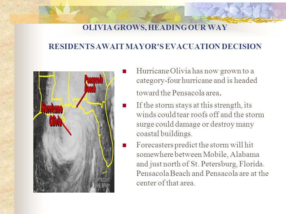 OLIVIA GROWS, HEADING OUR WAY RESIDENTS AWAIT MAYOR'S EVACUATION DECISION Hurricane Olivia has now grown to a category-four hurricane and is headed to
