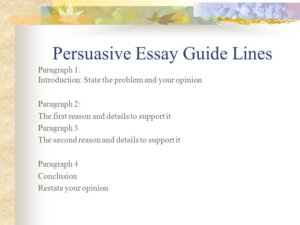 Persuasive Essay Guide Lines Paragraph 1: Introduction: State the problem and your opinion Paragraph 2: The first reason and details to support it Par