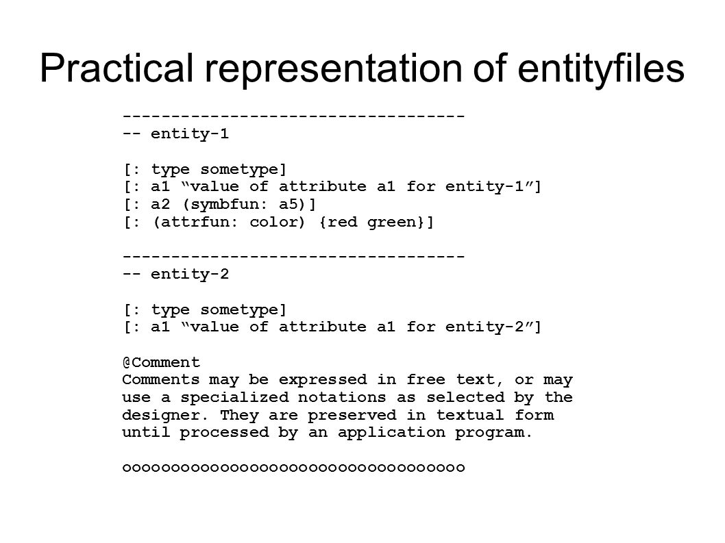 Practical representation of entityfiles ----------------------------------- -- entity-1 [: type sometype] [: a1 value of attribute a1 for entity-1 ] [: a2 (symbfun: a5)] [: (attrfun: color) {red green}] ----------------------------------- -- entity-2 [: type sometype] [: a1 value of attribute a1 for entity-2 ] @Comment Comments may be expressed in free text, or may use a specialized notations as selected by the designer.
