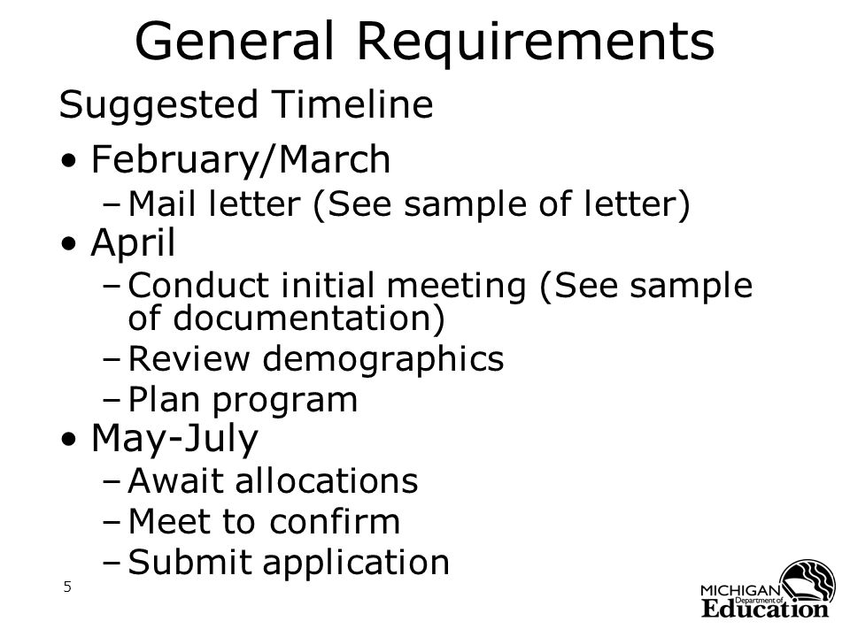 5 General Requirements Suggested Timeline February/March –Mail letter (See sample of letter) April –Conduct initial meeting (See sample of documentation) –Review demographics –Plan program May-July –Await allocations –Meet to confirm –Submit application