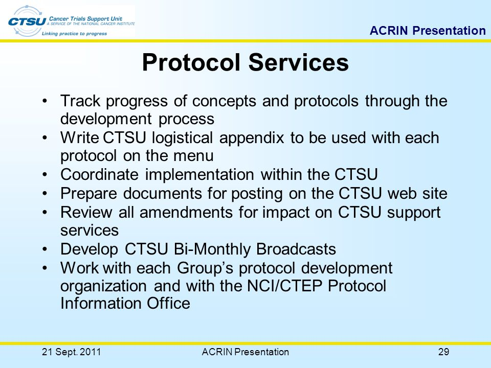 ACRIN Presentation Protocols OPEN Clinical Data 21 Sept. 201128ACRIN Presentation