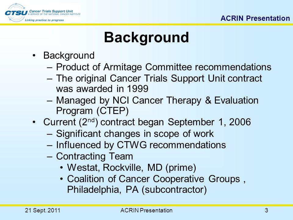 ACRIN Presentation 21 Sept. 2011ACRIN Presentation33 OPEN Tab