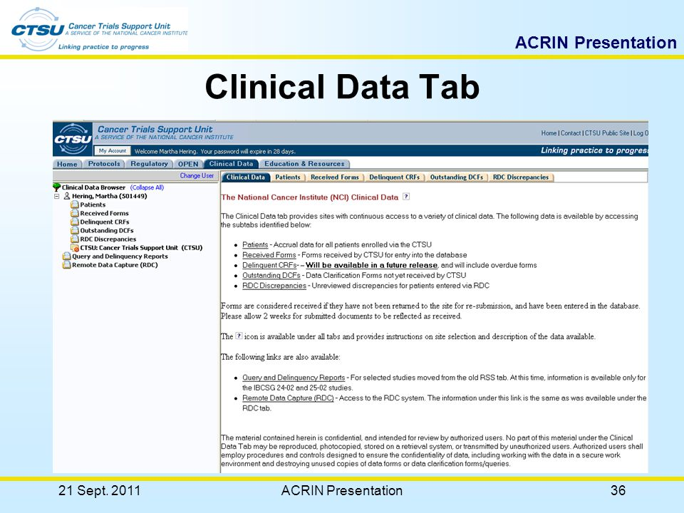 ACRIN Presentation 21 Sept. 2011ACRIN Presentation35 Clinical Data Tab Provides site users continuous access to a variety of clinical data related inf