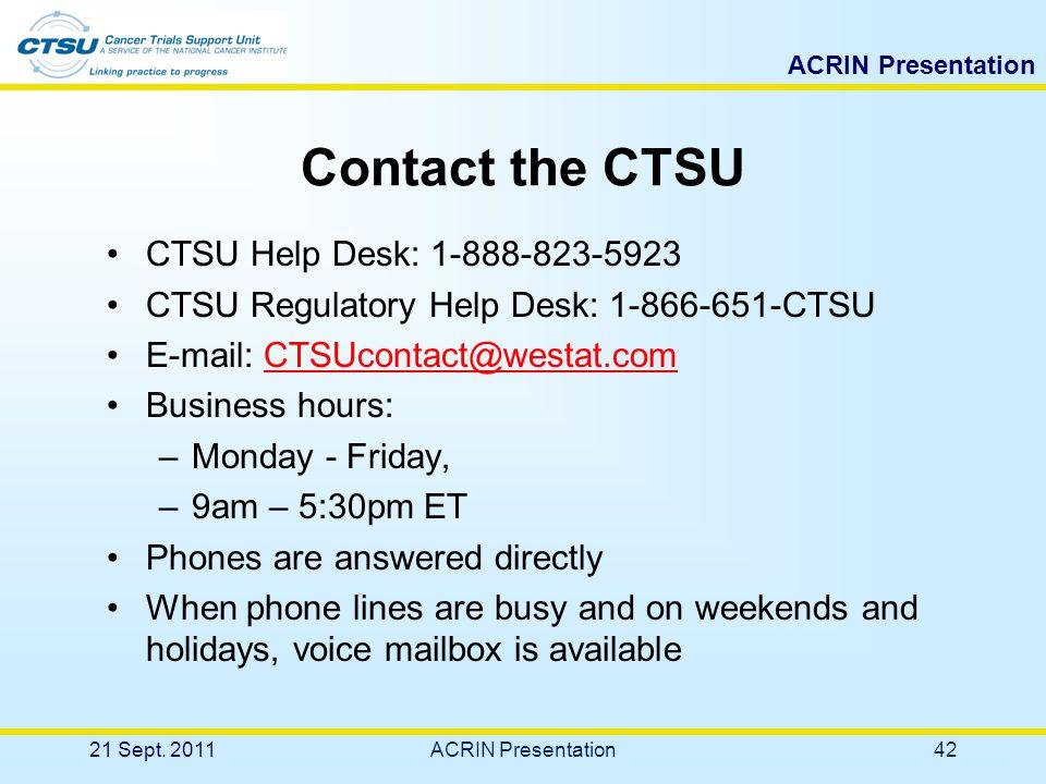 ACRIN Presentation Contact Information 21 Sept. 201141ACRIN Presentation