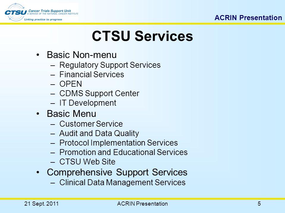 ACRIN Presentation CTSU Education and Resources 21 Sept. 201125ACRIN Presentation