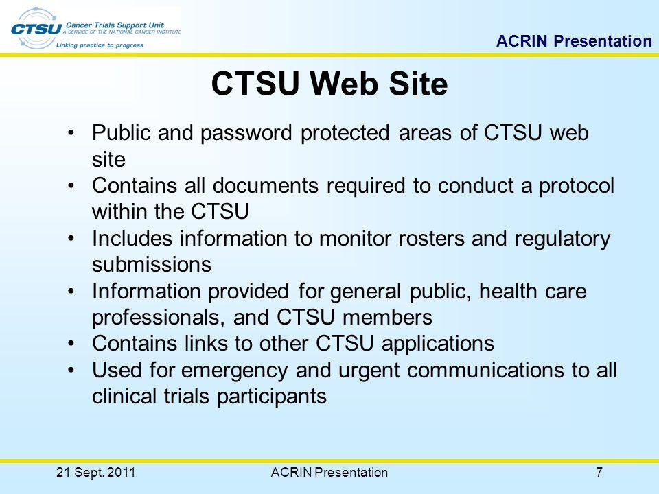 ACRIN Presentation Support Services 21 Sept. 2011ACRIN Presentation37