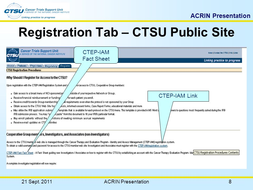 ACRIN Presentation CTSU IT Services Enterprise Oracle database supporting Regulatory Support System, Real-time Data Transfer System, Financial Management System, Clinical Data Transfer System, and CTSU Web site –Available on secure Web servers –Used by staff at Westat, Philadelphia, and at Cooperative Group offices around the country –Live link to NCI-CTEP enterprise database Oracle Clinical and Medidata Rave for data management –Including OC Remote Data Capture (RDC) system Applications development using Oracle Designer Support for clinical data systems and web technology Failover and capabilities for contingency operations 21 Sept.