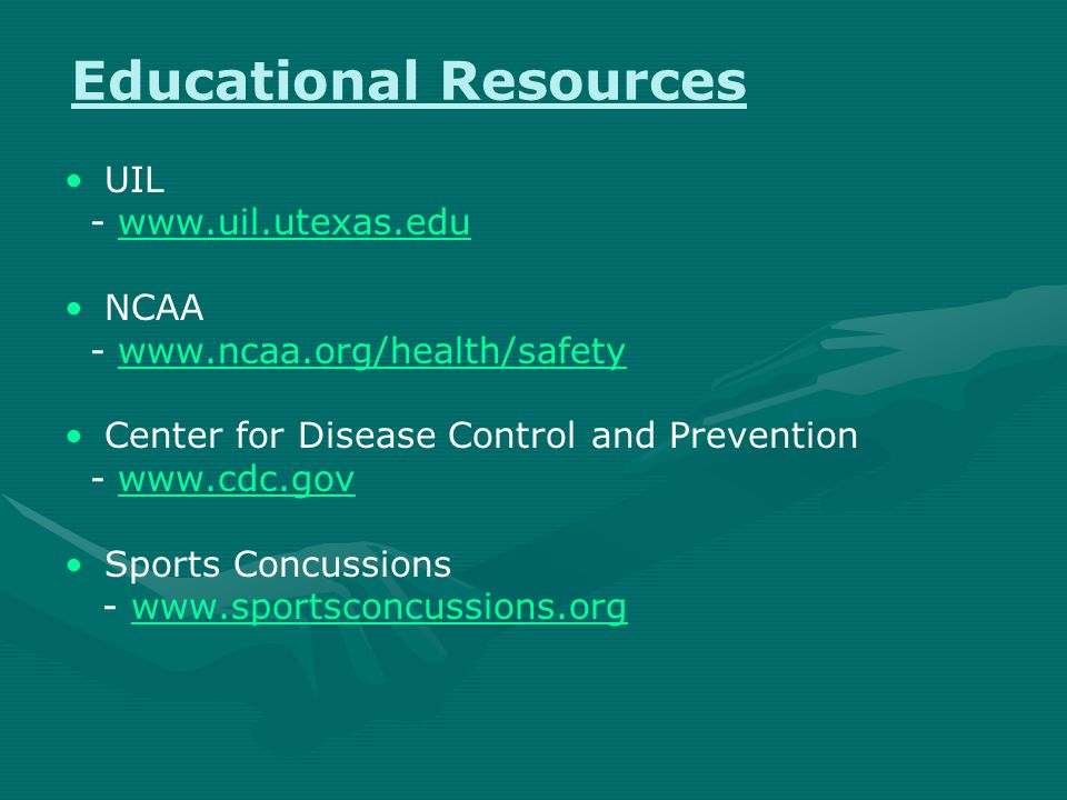 Heads Up: Concussion in High School Sports CDC program - online training - fact sheets - symptom posters - wallet cards Four Step Action Plan
