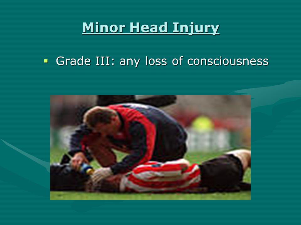 Minor Head Injury  Grade II: -transient confusion -transient confusion -no LOC -no LOC -symptoms > 15 min.