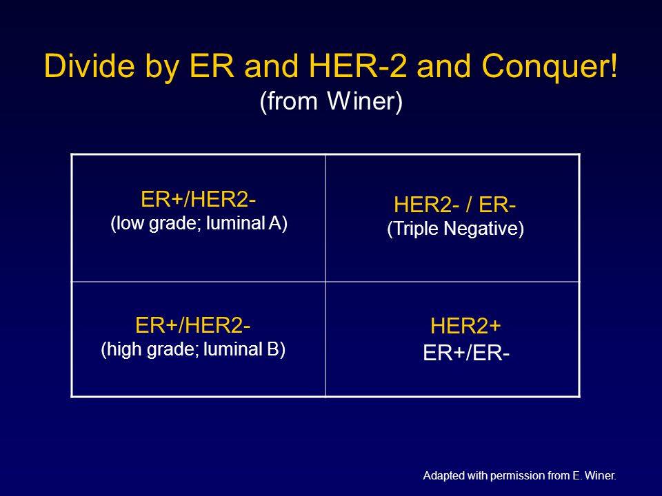 Divide by ER and HER-2 and Conquer.