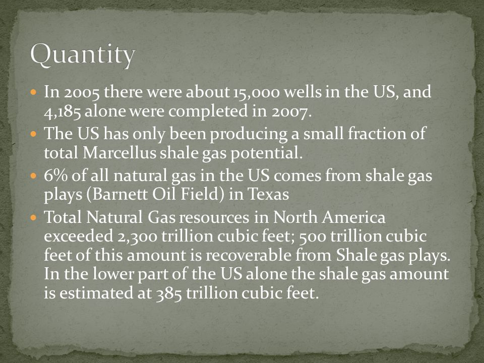 In 2007, the US Department of Energy stated that the US uses 1.4 trillion cubic feet of shale gas per year.