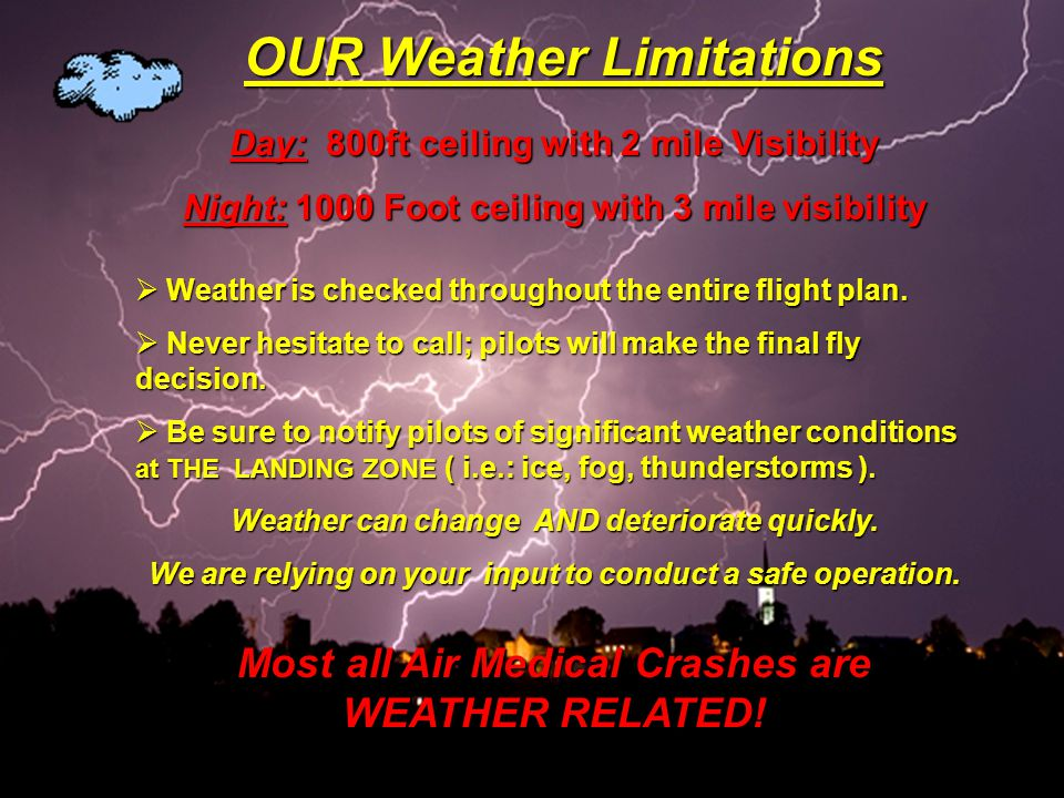 Day: 800ft ceiling with 2 mile Visibility Night: 1000 Foot ceiling with 3 mile visibility  Weather is checked throughout the entire flight plan.  Ne