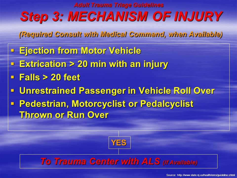 Step 3: MECHANISM OF INJURY (Required Consult with Medical Command, when Available)  Ejection from Motor Vehicle  Extrication > 20 min with an injur