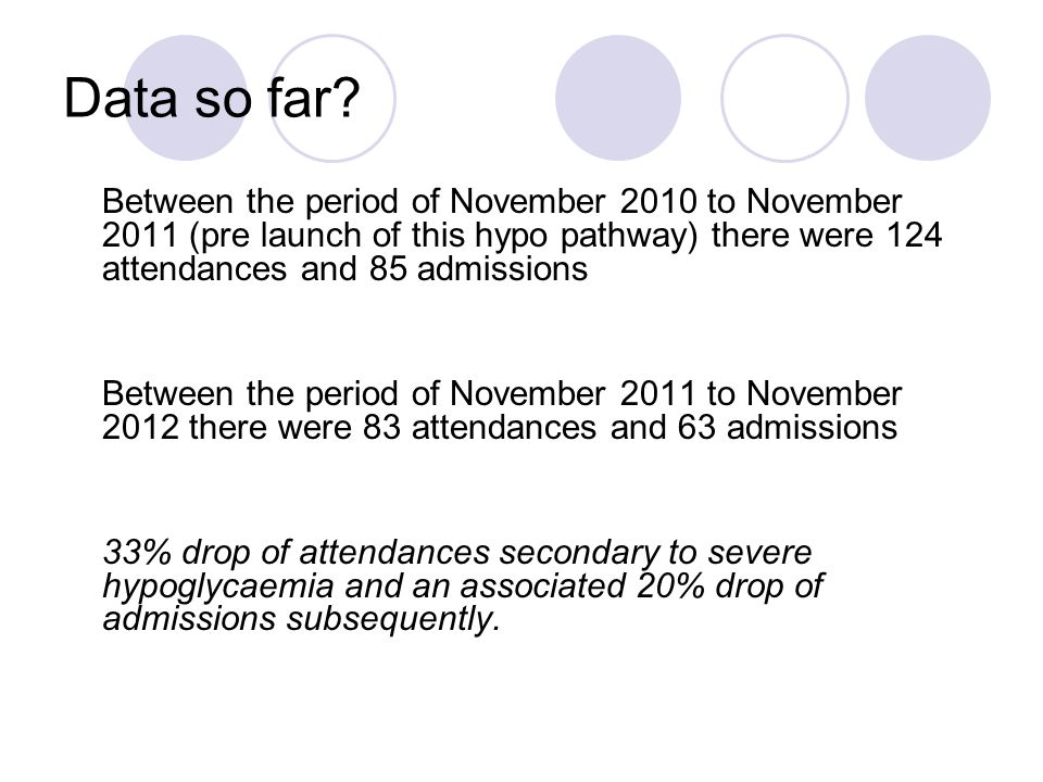 Data so far? Between the period of November 2010 to November 2011 (pre launch of this hypo pathway) there were 124 attendances and 85 admissions Betwe