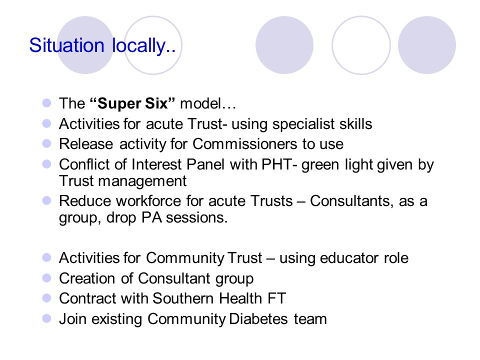"""Situation locally.. The """"Super Six"""" model… Activities for acute Trust- using specialist skills Release activity for Commissioners to use Conflict of I"""