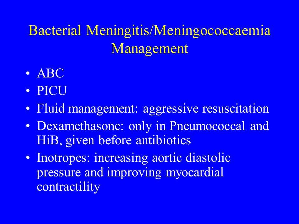 Bacterial Meningitis/Meningococcaemia Management ABC PICU Fluid management: aggressive resuscitation Dexamethasone: only in Pneumococcal and HiB, give