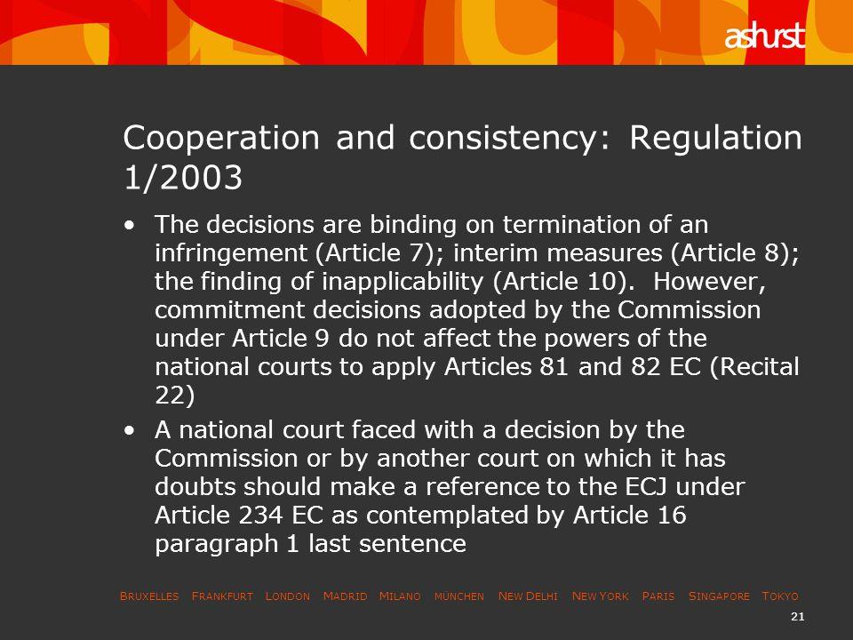 B RUXELLES F RANKFURT L ONDON M ADRID M ILANO MÜNCHEN N EW D ELHI N EW Y ORK P ARIS S INGAPORE T OKYO 21 Cooperation and consistency: Regulation 1/200