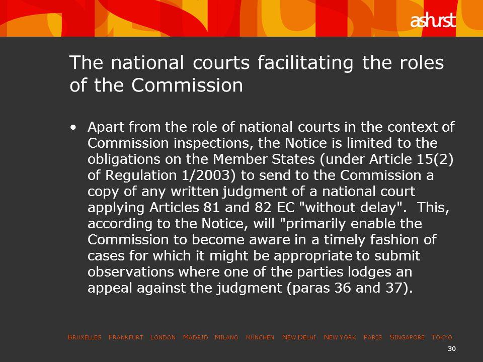 B RUXELLES F RANKFURT L ONDON M ADRID M ILANO MÜNCHEN N EW D ELHI N EW Y ORK P ARIS S INGAPORE T OKYO 30 The national courts facilitating the roles of
