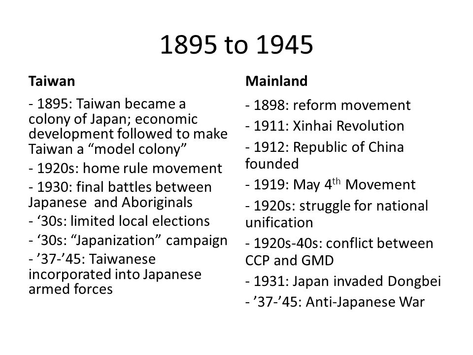 1895 to 1945 Taiwan - 1895: Taiwan became a colony of Japan; economic development followed to make Taiwan a model colony - 1920s: home rule movement - 1930: final battles between Japanese and Aboriginals - '30s: limited local elections - '30s: Japanization campaign - '37-'45: Taiwanese incorporated into Japanese armed forces Mainland - 1898: reform movement - 1911: Xinhai Revolution - 1912: Republic of China founded - 1919: May 4 th Movement - 1920s: struggle for national unification - 1920s-40s: conflict between CCP and GMD - 1931: Japan invaded Dongbei - '37-'45: Anti-Japanese War