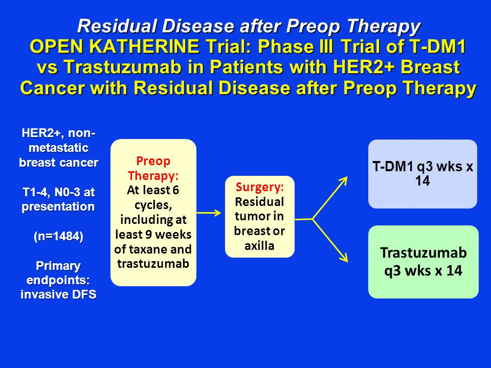Residual Disease after Preop Therapy OPEN KATHERINE Trial: Phase III Trial of T-DM1 vs Trastuzumab in Patients with HER2+ Breast Cancer with Residual Disease after Preop Therapy T-DM1 q3 wks x 14 Trastuzumab q3 wks x 14 HER2+, non- metastatic breast cancer T1-4, N0-3 at presentation (n=1484) Primary endpoints: invasive DFS Preop Therapy: At least 6 cycles, including at least 9 weeks of taxane and trastuzumab Surgery: Residual tumor in breast or axilla