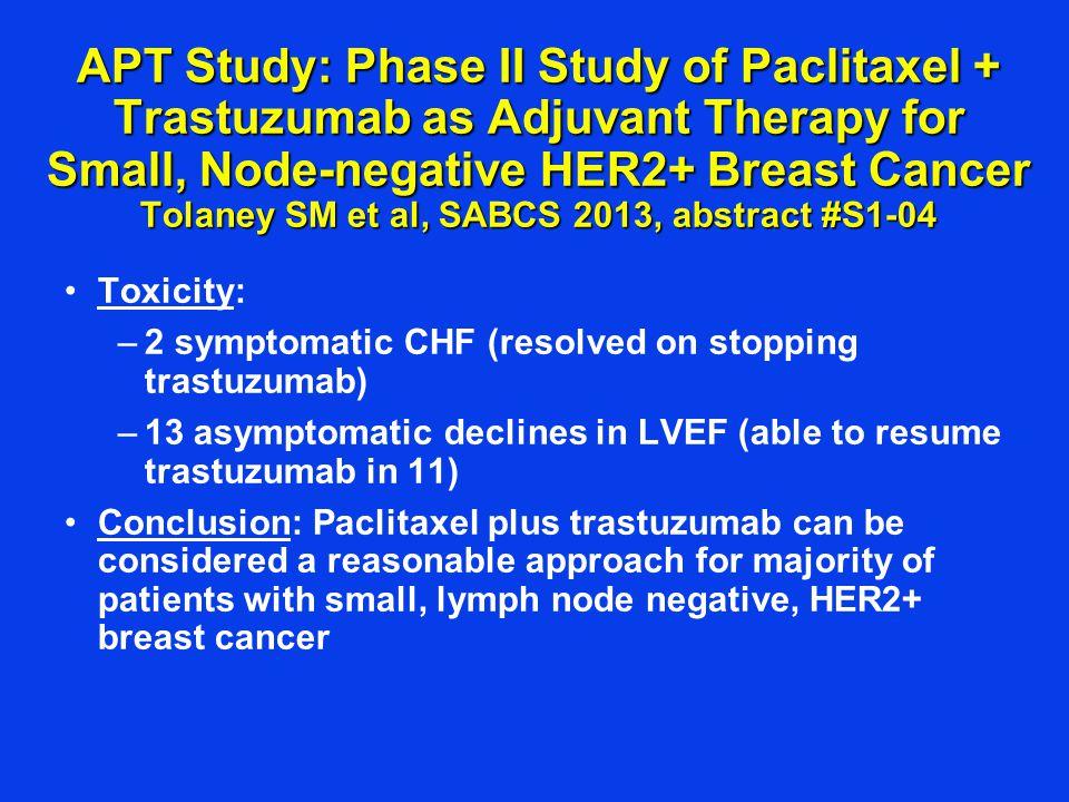 BETH: Randomized Phase III Trial of Adjuvant Bevacizumab in HER2+ Breast Cancer Slamon D et al, SABCS 2-13, abstract #S1-03 Chemo/TrastuzumabChemo/Trastuzumab /Bevacizumab Hypertension4%19% Thromboembolic event 2%3% Bleeding<1%2% CHF<1%2.1% GI perforation1 event11 events Adverse Events (grade 3, 4)
