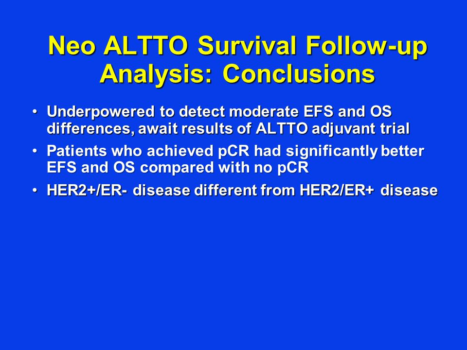 Neo ALTTO Survival Follow-up Analysis: Conclusions Underpowered to detect moderate EFS and OS differences, await results of ALTTO adjuvant trialUnderpowered to detect moderate EFS and OS differences, await results of ALTTO adjuvant trial Patients who achieved pCR had significantly better EFS and OS compared with no pCRPatients who achieved pCR had significantly better EFS and OS compared with no pCR HER2+/ER- disease different from HER2/ER+ diseaseHER2+/ER- disease different from HER2/ER+ disease