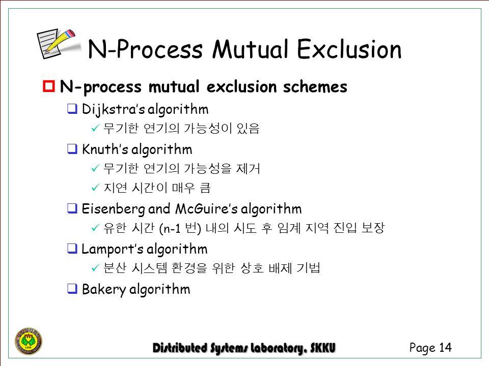 Page 14  N-process mutual exclusion schemes  Dijkstra's algorithm 무기한 연기의 가능성이 있음  Knuth's algorithm 무기한 연기의 가능성을 제거 지연 시간이 매우 큼  Eisenberg and Mc