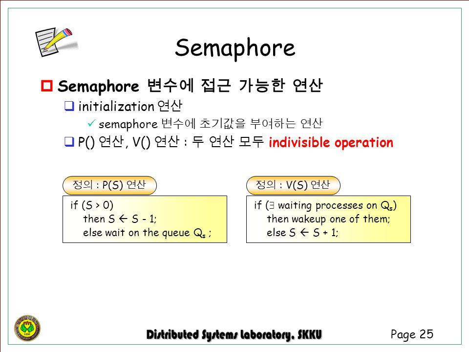 Page 25  Semaphore 변수에 접근 가능한 연산  initialization 연산 semaphore 변수에 초기값을 부여하는 연산  P() 연산, V() 연산 : 두 연산 모두 indivisible operation 정의 : P(S) 연산 if (S >