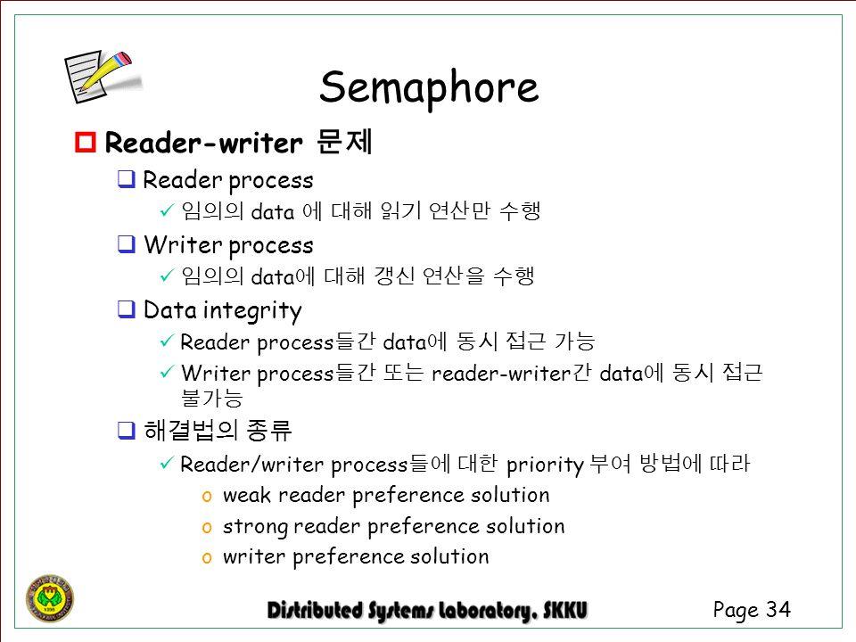 Page 34  Reader-writer 문제  Reader process 임의의 data 에 대해 읽기 연산만 수행  Writer process 임의의 data 에 대해 갱신 연산을 수행  Data integrity Reader process 들간 data 에