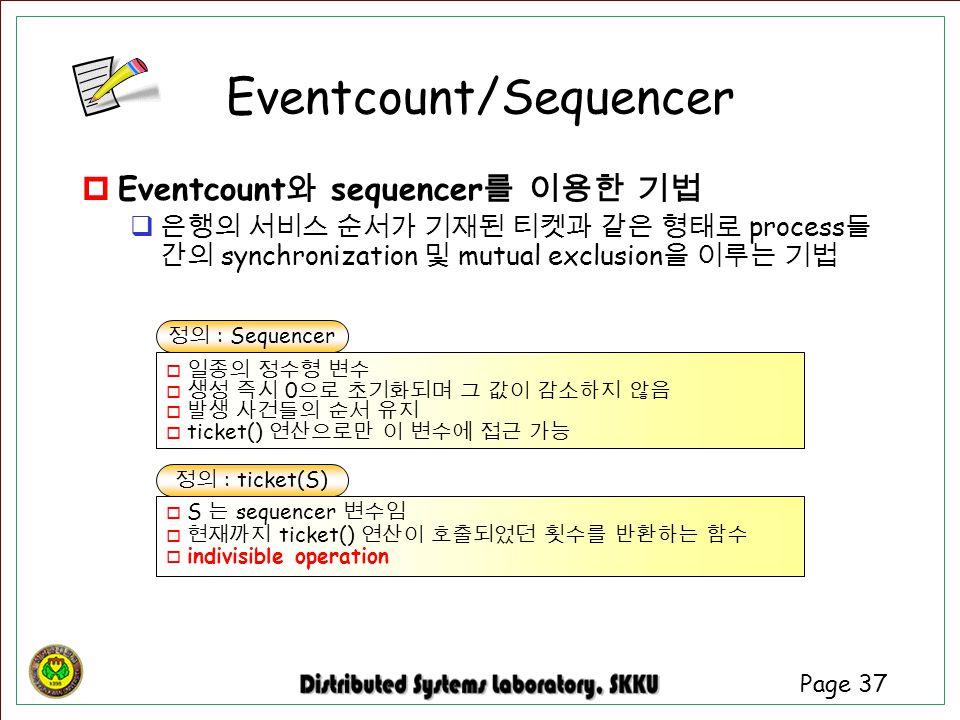 Page 37 Eventcount/Sequencer  Eventcount 와 sequencer 를 이용한 기법  은행의 서비스 순서가 기재된 티켓과 같은 형태로 process 들 간의 synchronization 및 mutual exclusion 을 이루는 기법 정