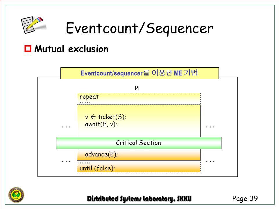 Page 39  Mutual exclusion Critical Section v  ticket(S); await(E, v); Pi repeat...... advance(E);...... until (false);... Eventcount/sequencer 를 이용한