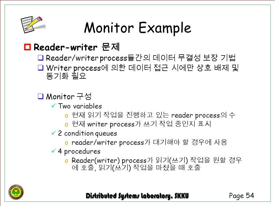 Page 54  Reader-writer 문제  Reader/writer process 들간의 데이터 무결성 보장 기법  Writer process 에 의한 데이터 접근 시에만 상호 배제 및 동기화 필요  Monitor 구성 Two variables o 현재 읽