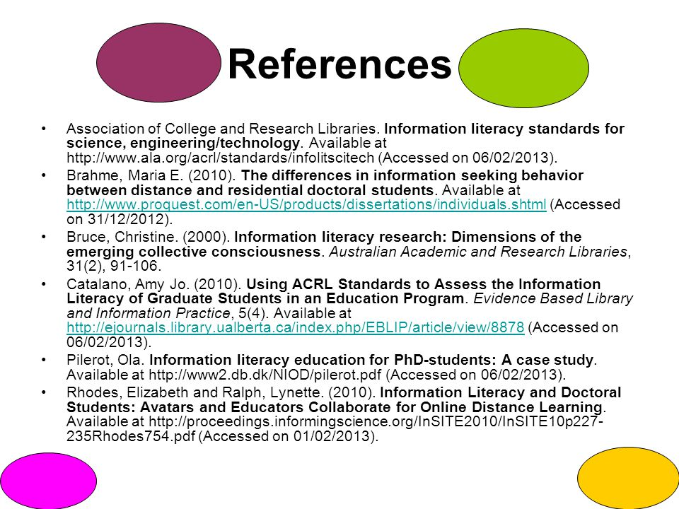 References Association of College and Research Libraries.
