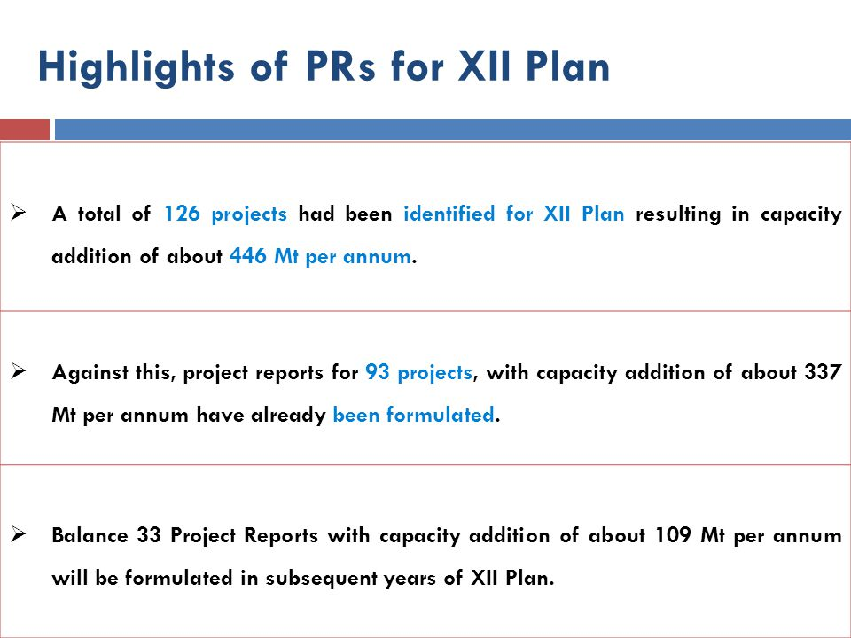  A total of 126 projects had been identified for XII Plan resulting in capacity addition of about 446 Mt per annum.  Against this, project reports f