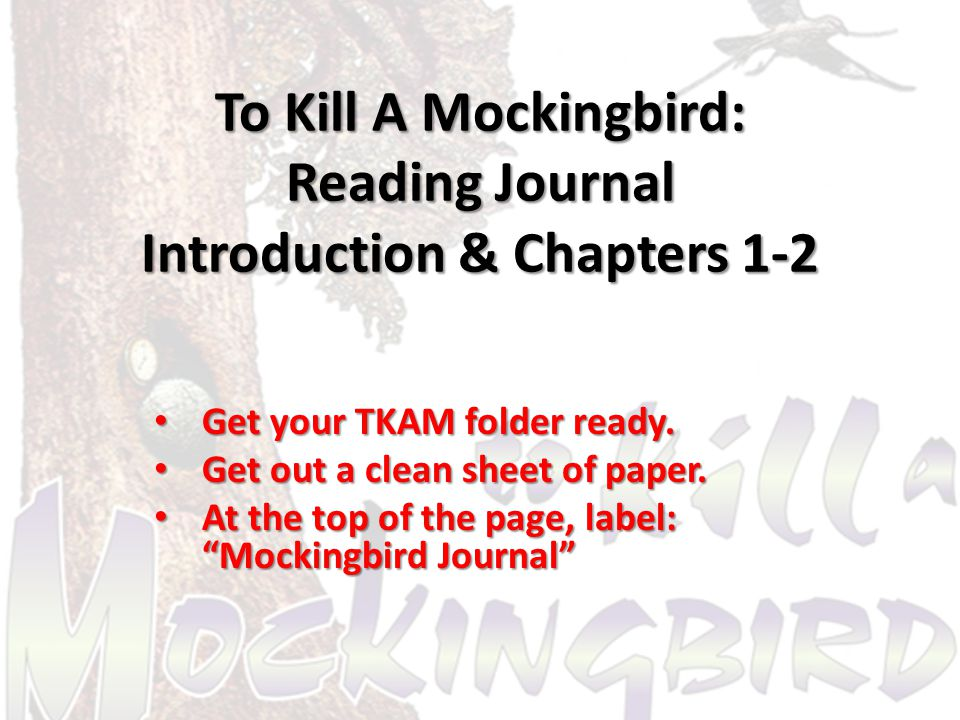 Journal Entry On the left side of the paper under your title (Mockingbird Journal), label today's date: On the left side of the paper under your title (Mockingbird Journal), label today's date: – September 10, 2012 This is the first entry in your To Kill A Mockingbird Journal.